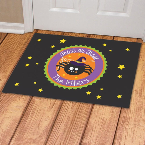 Personalized Trick Or Treat Spider Doormat-Personalized Gifts