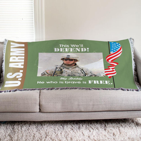 Personalized U.S. Army Photo Tapestry Throw-Personalized Gifts