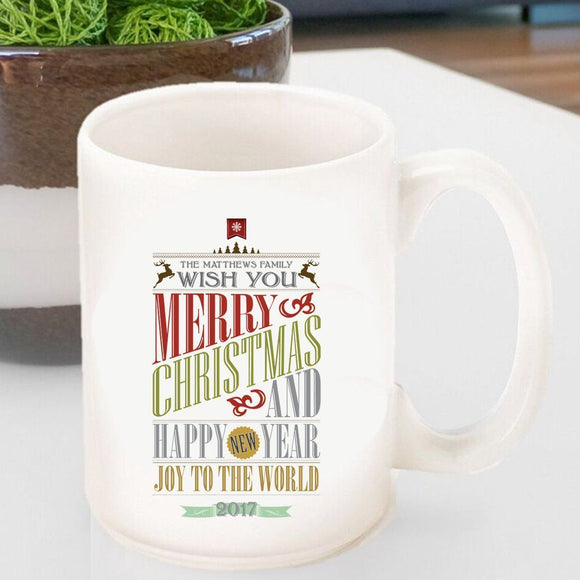 Personalized Vintage Holiday Coffee Mug - Christmas Words-Personalized Gifts