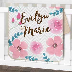 Personalized Watercolor Floral Baby Sherpa Blanket-Personalized Gifts