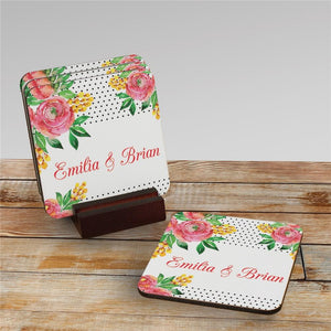 Personalized Watercolor Floral Background Coasters-Personalized Gifts