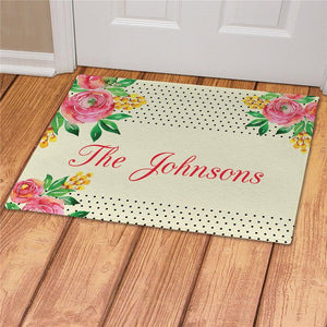 Personalized Watercolor Floral Background Doormat-Personalized Gifts