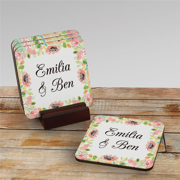 Personalized Watercolor Floral Frame Coasters-Personalized Gifts