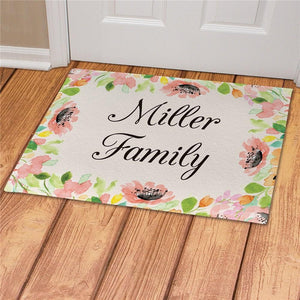 Personalized Watercolor Floral Frame Doormat-Personalized Gifts