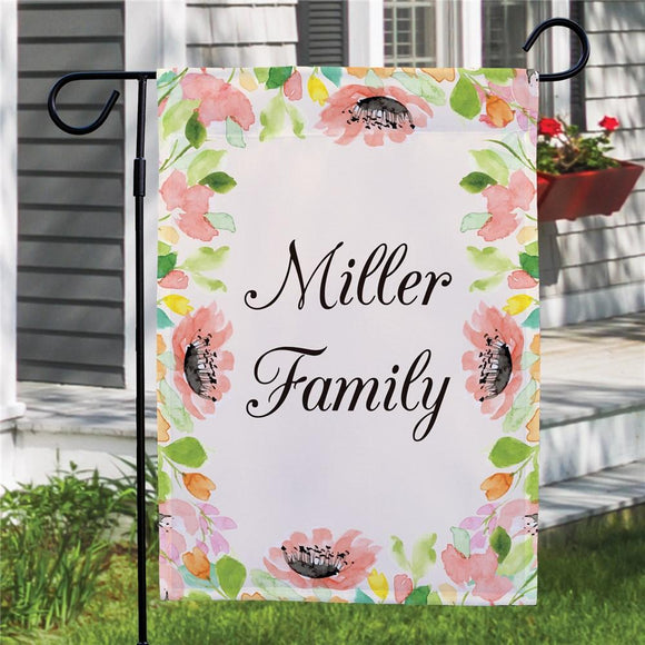 Personalized Watercolor Floral Frame Garden Flag-Personalized Gifts