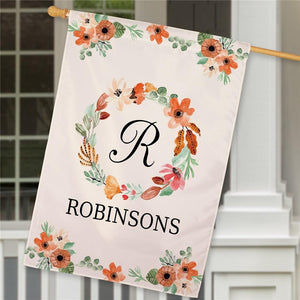 Personalized Watercolor Floral Wreath House Flag-Personalized Gifts