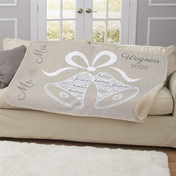 Personalized Wedding Bells Word Art Sherpa Blanket-Personalized Gifts