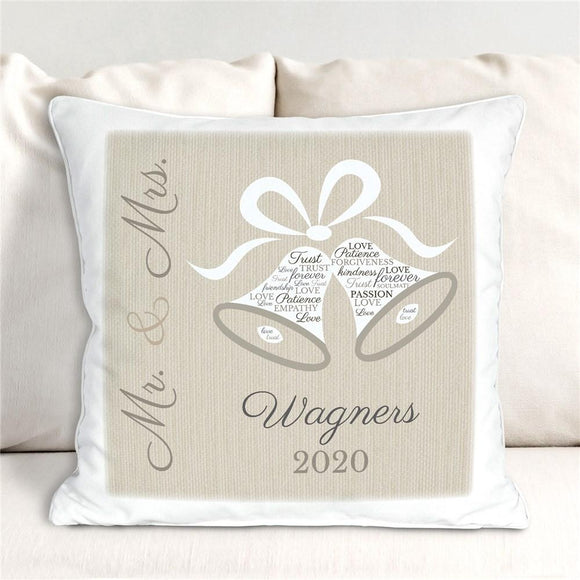 Personalized Wedding Bells Word Art Throw Pillow-Personalized Gifts