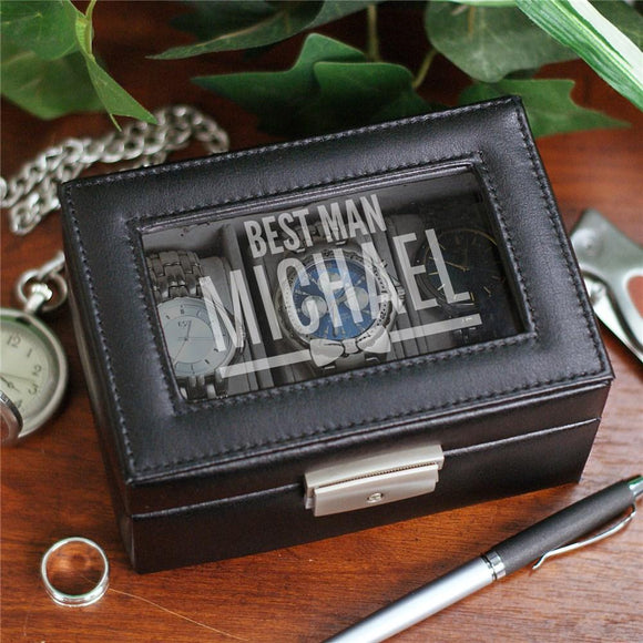 Personalized Wedding Party Bow Tie Watch Box-Personalized Gifts