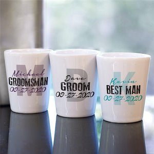 Personalized Wedding Party Initial Shot Glass-Personalized Gifts