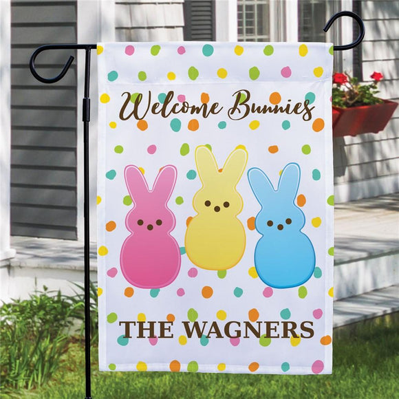Personalized Welcome Bunnies Dotted Garden Flag this Easter-Personalized Gifts