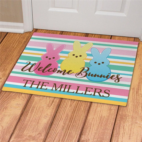 Personalized Welcome Bunnies Striped Doormat-Personalized Gifts