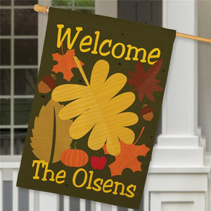 Personalized Welcome Fall House Flag-Personalized Gifts