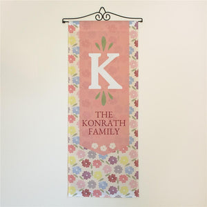 Personalized Welcome Family Pansy Floral Door Banner-Personalized Gifts