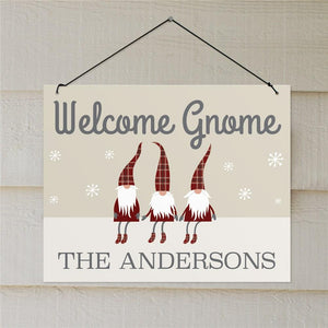 Personalized Welcome Gnome Wall Sign-Personalized Gifts