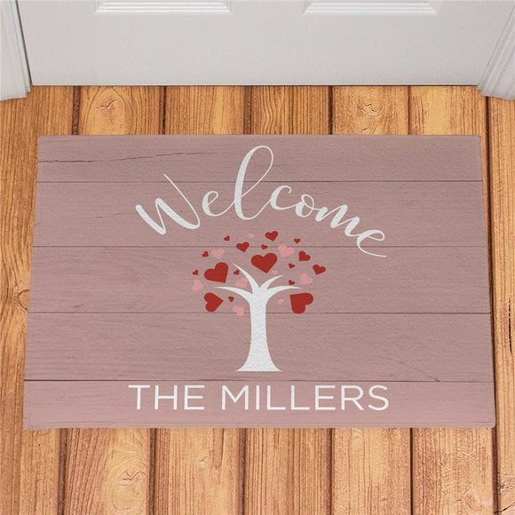 Personalized Welcome Hearts Tree Doormat-Personalized Gifts