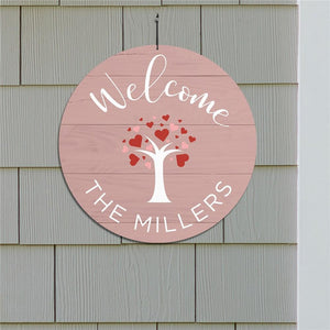 Personalized Welcome Hearts Tree Round Sign-Personalized Gifts