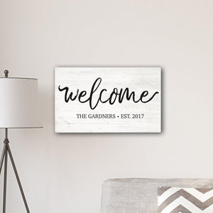 "Personalized Welcome Modern Farmhouse 14"" x 24"" Canvas Sign-Personalized Gifts"