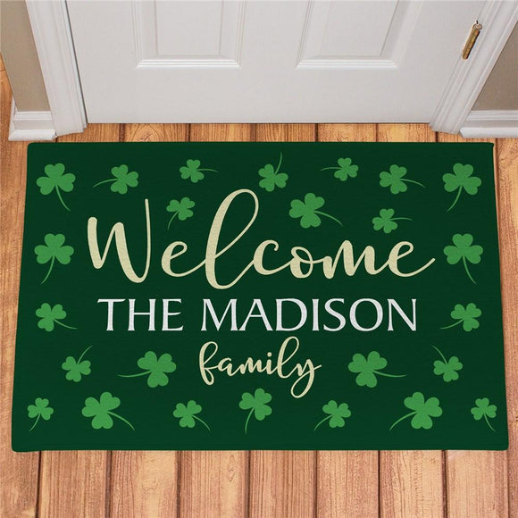Personalized Welcome Shamrocks Doormat-Personalized Gifts