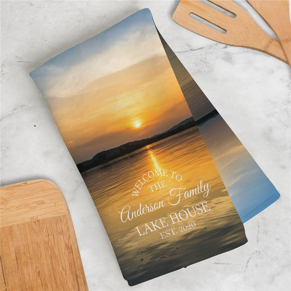 Personalized Welcome To Our Lake House Dish Towel-Personalized Gifts