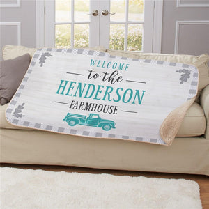Personalized Welcome To The Farmhouse Gingham Sherpa Throw-Personalized Gifts