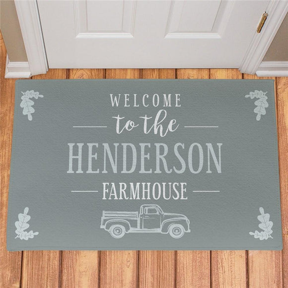 Personalized Welcome To The Farmhouse Truck Doormat-Personalized Gifts
