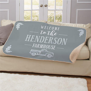 Personalized Welcome To The Farmhouse Truck Sherpa Throw-Personalized Gifts