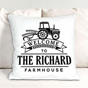 Personalized Welcome Tractor Throw Pillow-Personalized Gifts