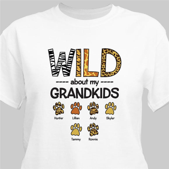 Personalized Wild About My Grandkids T-Shirt-Personalized Gifts