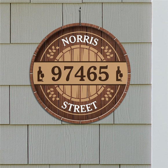Personalized Wine Barrel Address Wall Sign-Personalized Gifts