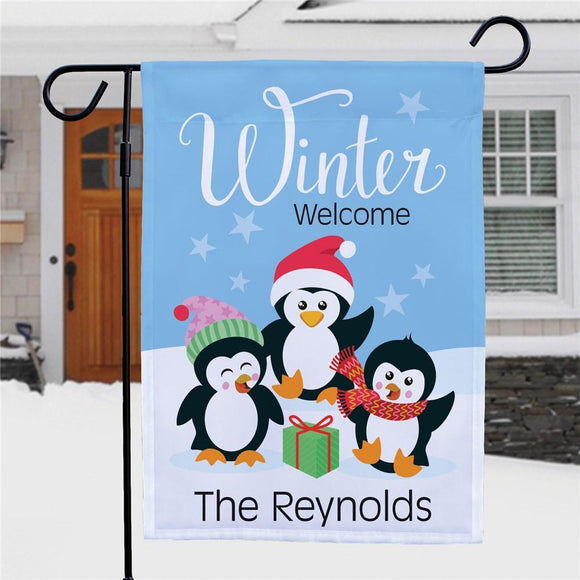 Personalized Winter Welcome With Penguins Garden Flag-Personalized Gifts
