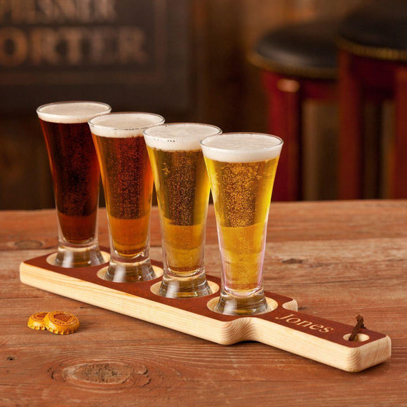 Personalized Wood Beer Tasting Set w/Mini Pilsners-Personalized Gifts
