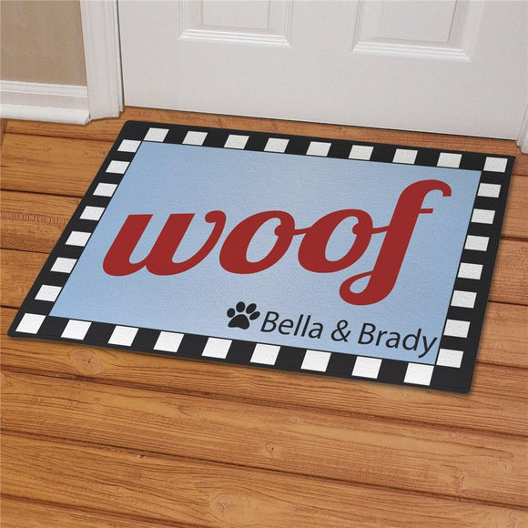 Personalized Woof Dog Welcome Doormat-Personalized Gifts