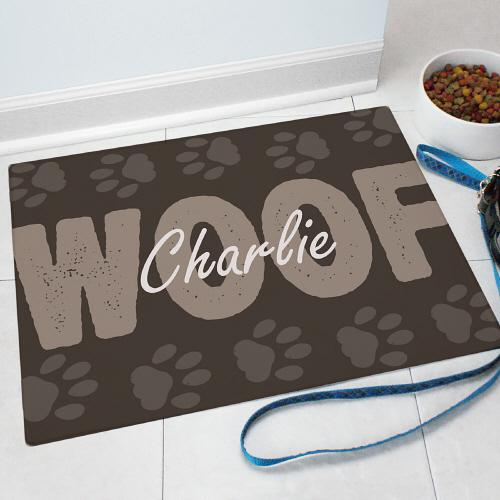 Personalized Woof Pet Food Mat-Personalized Gifts