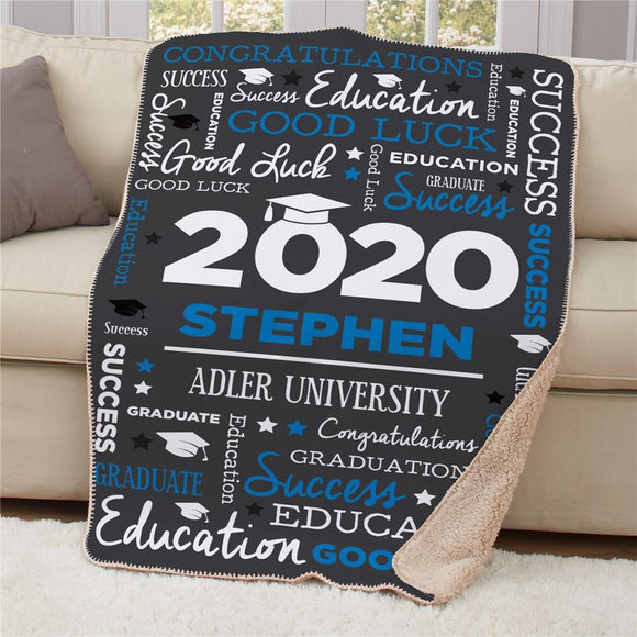 Personalized Word Art Graduation Sherpa Blanket-Personalized Gifts