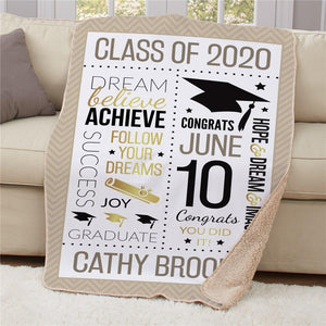 Personalized Word Art Graduation Sherpa Throw-Personalized Gifts