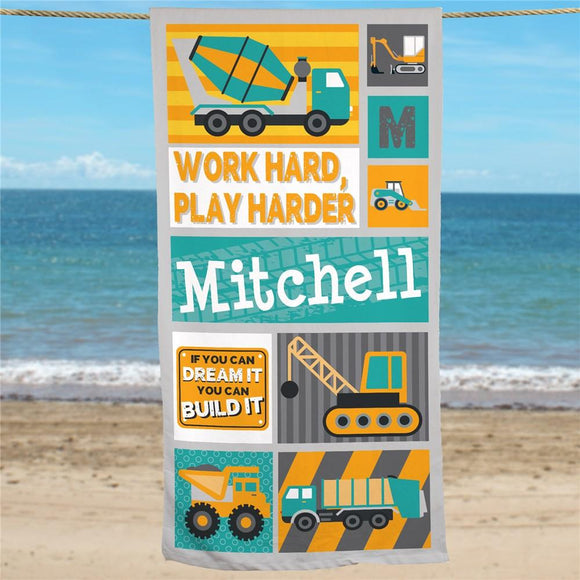 Personalized Work Hard Play Harder Truck Beach Towel-Personalized Gifts