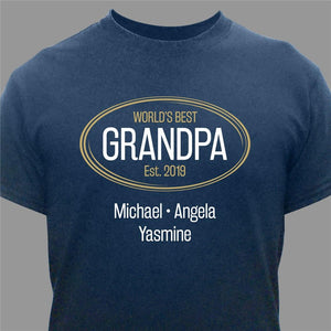 Personalized World's Best Grandpa T-Shirt-Personalized Gifts