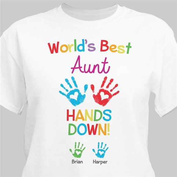 Personalized World's Best Hands Down T-Shirt-Personalized Gifts