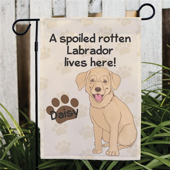 Personalized Yellow Lab Spoiled Here Garden Flag-Personalized Gifts