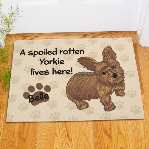 Personalized Yorkie Spoiled Here Doormat-Personalized Gifts