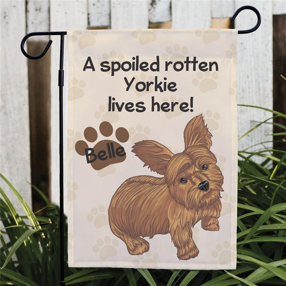 Personalized Yorkie Spoiled Here Garden Flag-Personalized Gifts
