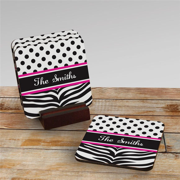 Personalized Zebra Pink Drink Coasters-Personalized Gifts