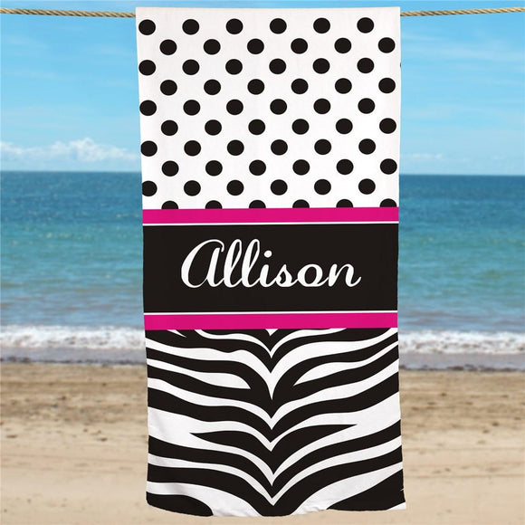 Personalized Zebra Print Beach Towel-Personalized Gifts