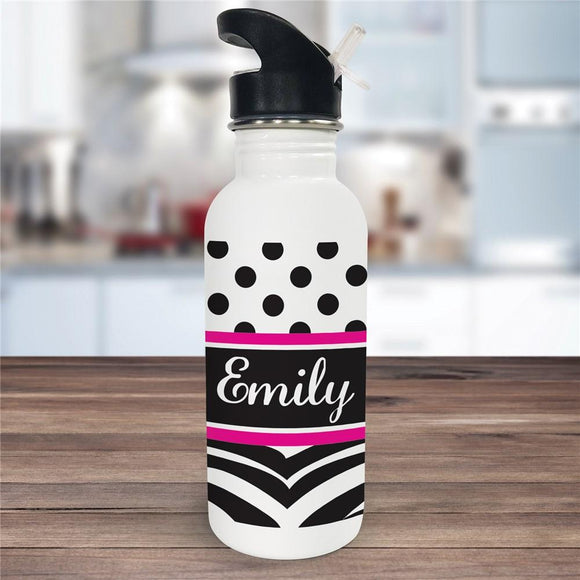 Personalized Zebra Print Water Bottle-Personalized Gifts