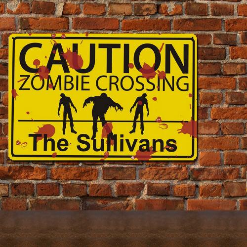 Personalized Zombie Crossing Metal Wall Sign-Personalized Gifts
