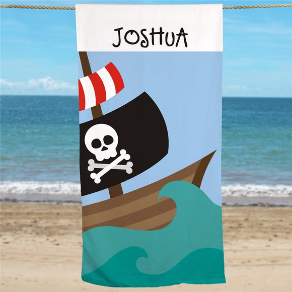 Pirate Ship Personalized Beach Towel-Personalized Gifts