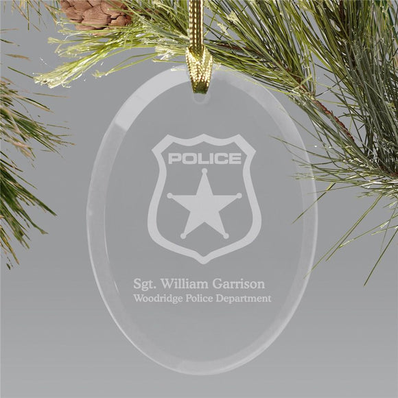 Police Officer Engraved Oval Glass Holiday Ornament-Personalized Gifts