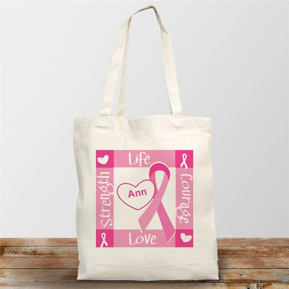Ribbon of Heart - Breast Cancer Awareness Personalized Canvas Tote Bag-Personalized Gifts