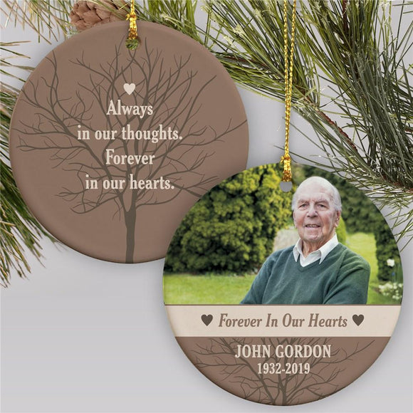 Round Ceramic Memorial Photo Ornament-Personalized Gifts